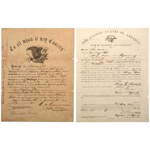 [INDIAN WARS]. Enlistment and discharge papers for