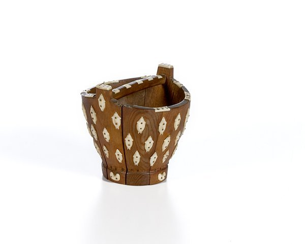 21: Greenland Eskimo Wood & Ivory Water Bucket