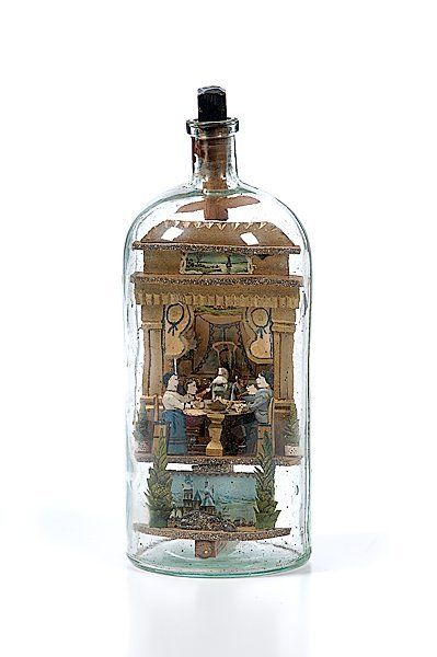 "1: Carl Worner Diorama Bottle of ""Happy Family"""