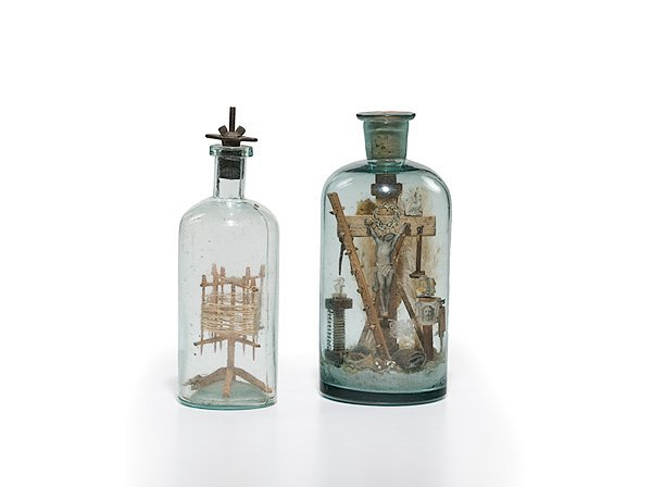 2: Puzzle Bottles, One with Crucifix