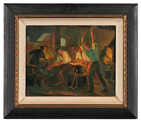 21: Blacksmith Scene by Ferenczy, Oil on Canvas