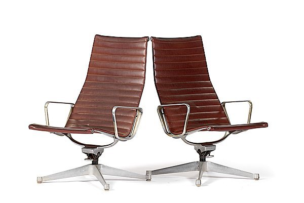 376: Eames Aluminum Management Leather Armchairs
