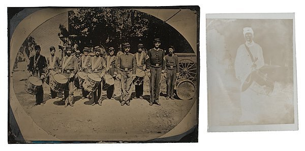 1: Civil War Tintype of the 8th Maine Drum and Bugle Co