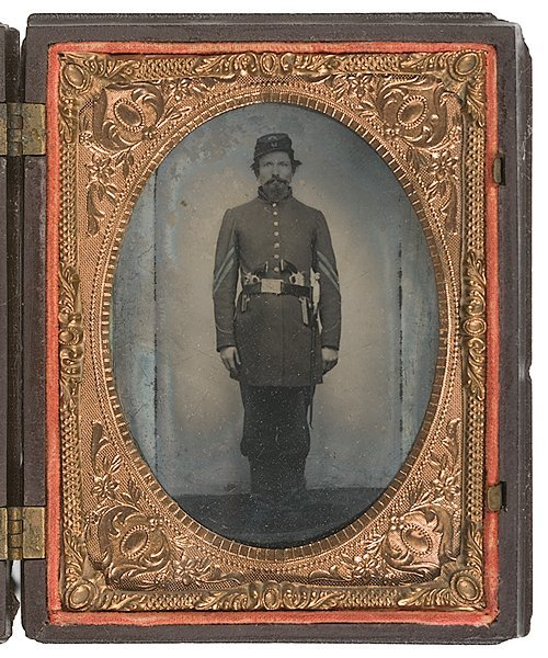 2: Quarter Plate Ambrotype of Armed Maine Corporal