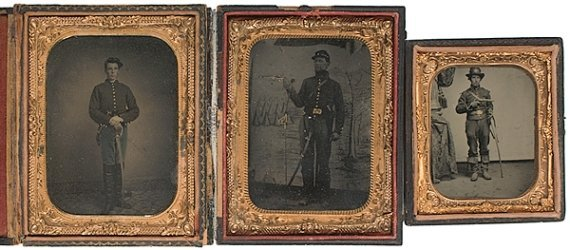 6: Lot of Three Cased Tintypes of Armed Cavalrymen