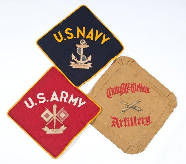 9: Spanish American War Artillery Kepi & 3 Pillow Shams