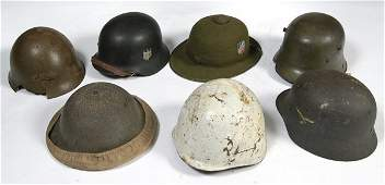 348: Lot of 7 WWII Nazi German Helmets and Other Milita