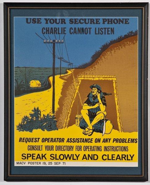 469: Rare Framed Vietnam War U S  Propaganda Poster