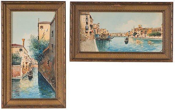 4: Italian School Venetian Scenes, Watercolor