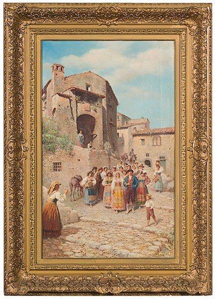 7: Townscape by Francesco Bergamini, Oil on Canvas