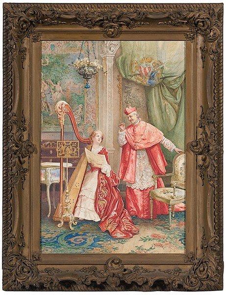 10: Italian Genre Scene, Watercolor by Umberto Cacciare
