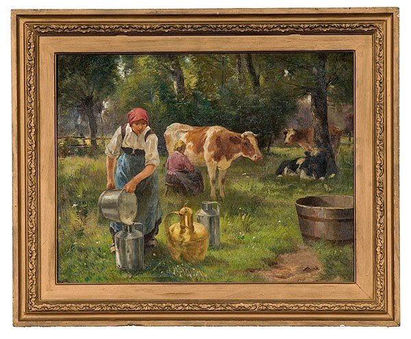 12: Continental Pastoral Scene, Oil on Canvas