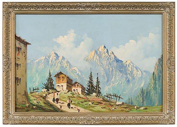 14: Landscape after Giovanni Moretti, Oil on Canvas