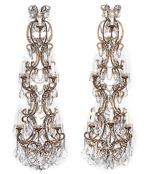 20: Pair of Crystal Wall Sconces