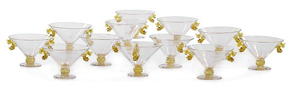 23: Venetian Glass Sherbets with Dolphins