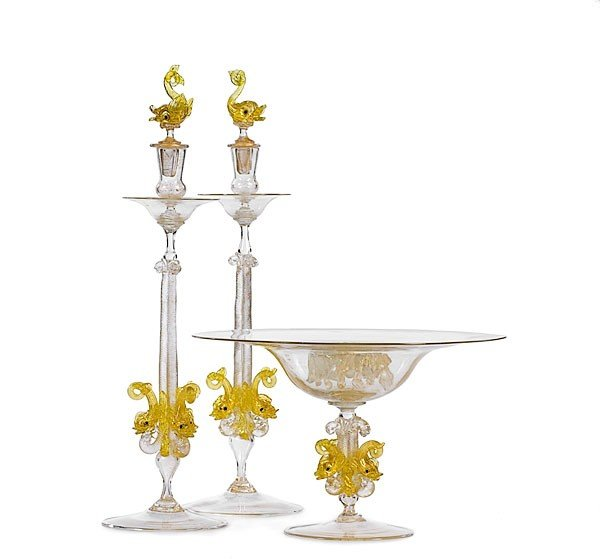 24: Venetian Adventurine Glass Console Bowl and Candles