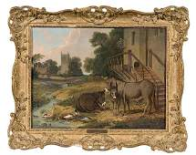 105 Farmyard Scene After John Herring Sr Oil on Canv