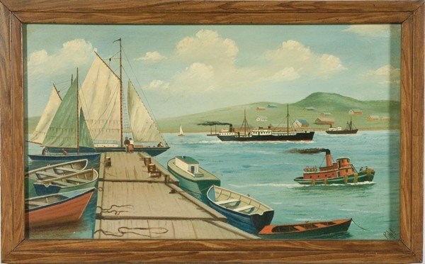 4: Maine Dock Scene Oil Painting by P. Hill