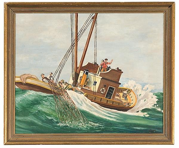 14: Nautical Scene by W. Knowles, Oil on Canvas Board