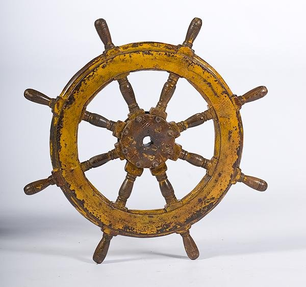 20: Painted Wooden Ships Wheel