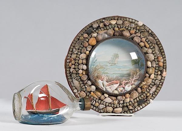 26: Boat in Bottle and Shell Art Diorama