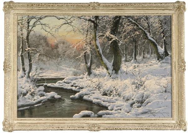 307: American School Winter Landscape, Oil on Board