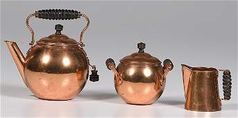 907 Arts and Crafts Period Copper Tea Set