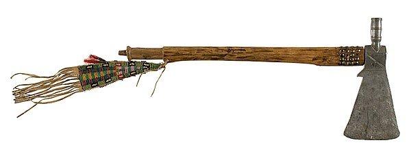413: Northern Plains Pewter Bowl Pipe Tomahawk