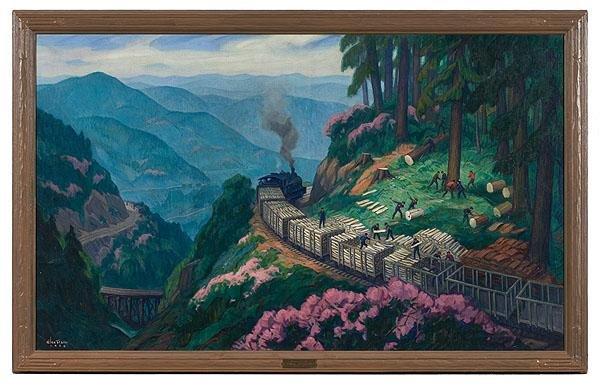 1: Logging Scene by Glen Tracy, Oil on Canvas