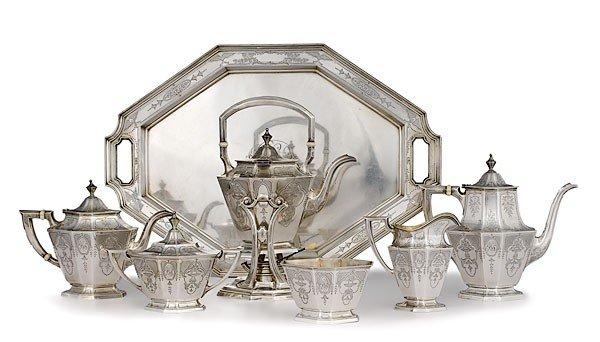 351: Gorham Sterling Seven Piece Tea Set