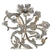 592 Edwardian 18K Gold and Diamond Cluster Brooch