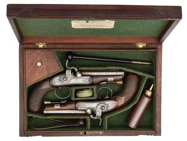 866: Cased Pair of English Percussion Pistols by Goldin