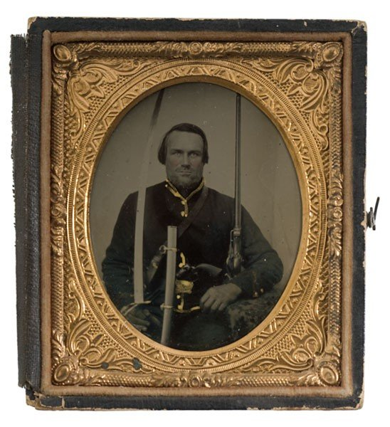10: Civil War Sixth Plate Tintype of a Triple Armed Cav