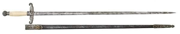 147: U.S. Civil War 1840 Militia Sword with Scabbard