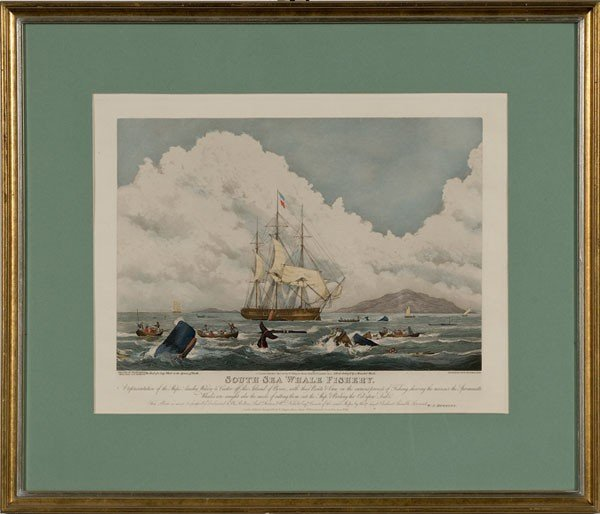 5: South Sea Whale Fishery Hand-colored Aquatint