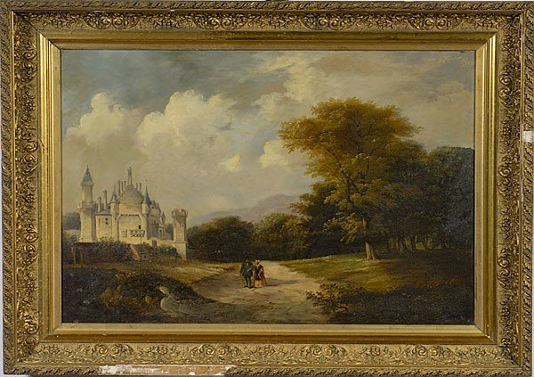 16: English Landscape with Castle, Oil on Canvas