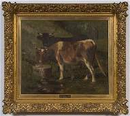 312 Pastoral Scene with Cows by Wilbur Lansil Oil on