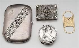 485: Silver Cigarette Case, Gold Cigar Cutter, Plus