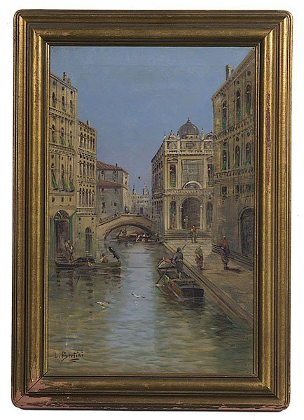 4: Canal Scene by L. Bertini, Oil on Canvas