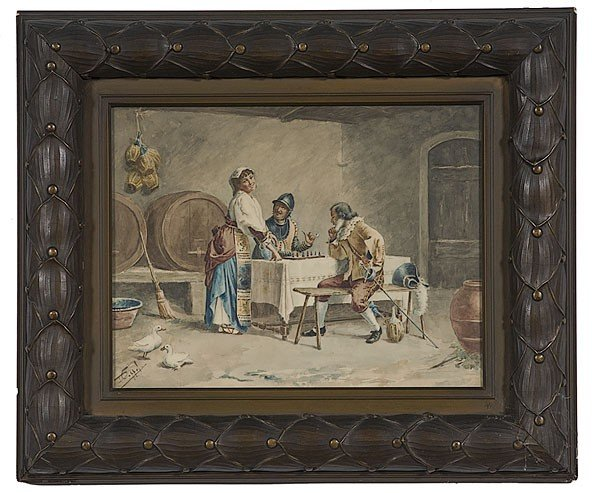 24: Tavern Scene by D. Coppel, Watercolor