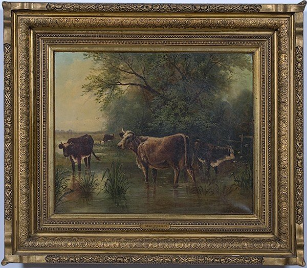 15: Landscape with Cows, Oil on Canvas