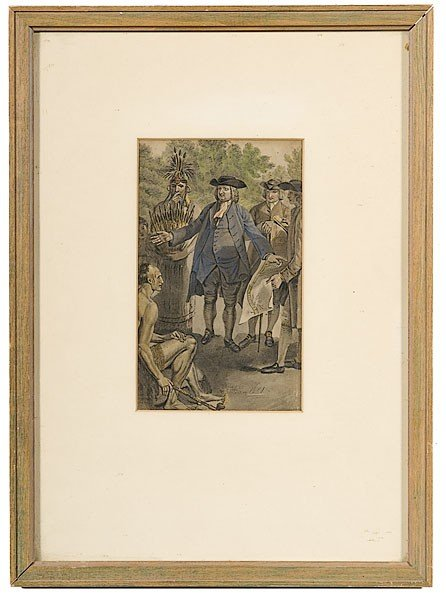 16: Colored Lithograph Of William Penn