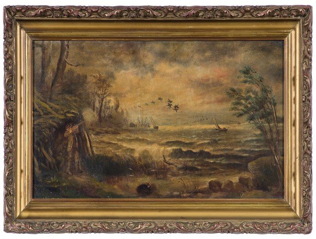 17: Hunting Scene by H.M. Hall, Oil on Board