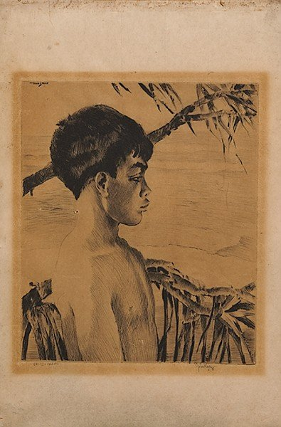 554: Young Boy by John M. Kelly, Etching