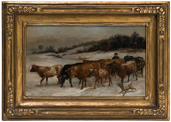 2: Winter Scene with Cattle by Edmund Osthaus, Oil on C