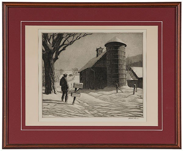 4: Winter Country Scene by Martin Lewis, Drypoint