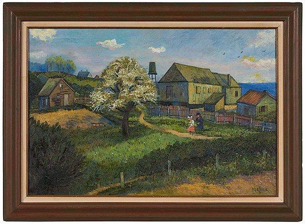 7: Landscape with Figures by David Burliuk, Oil on Canv