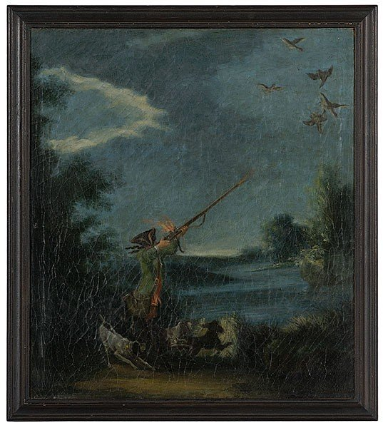 8: Dutch Hunting Scene by Geerlig Grypmoed, Oil on Canv