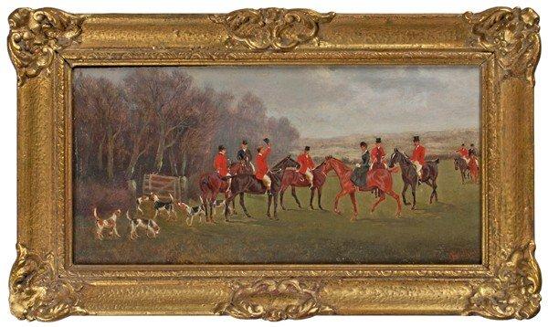 9: Hunting Scenes by Charles Faulkner, Oil on Board