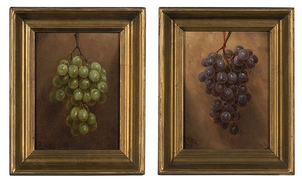 12: Fruit Still Lifes by William R. Miller, Oil on Boar